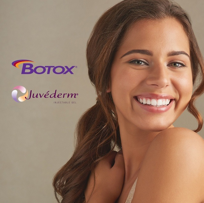 Woman smiling next to botox and Juvederm logos