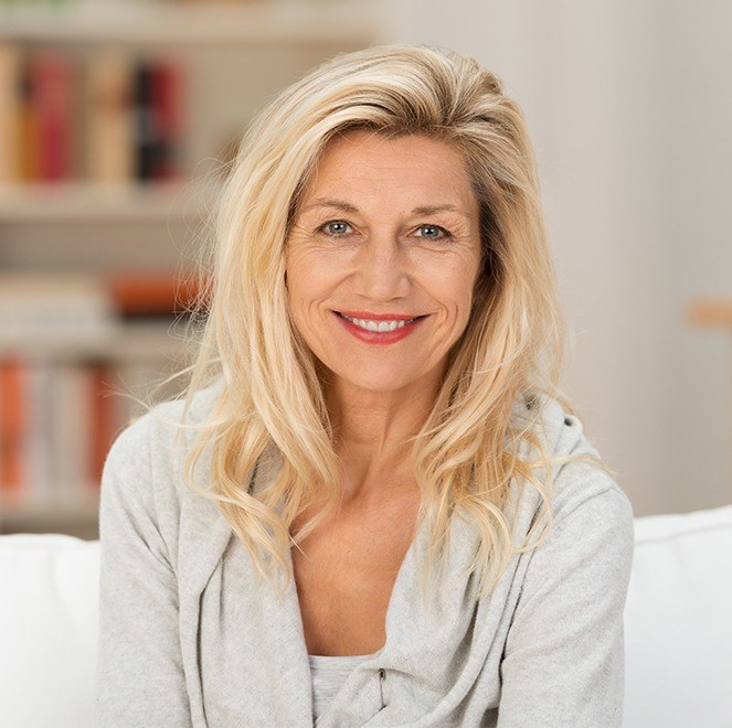 Woman smiling after P D O lifting thread treatment