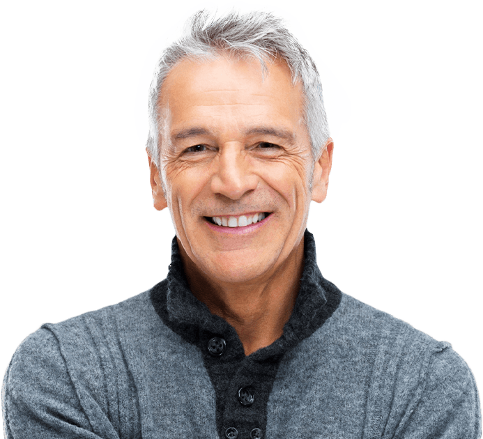 Older man sharing healthy smile thanks to advanced dental services and technology